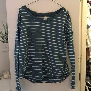 Free People Stripe Button Sleeve Shirt